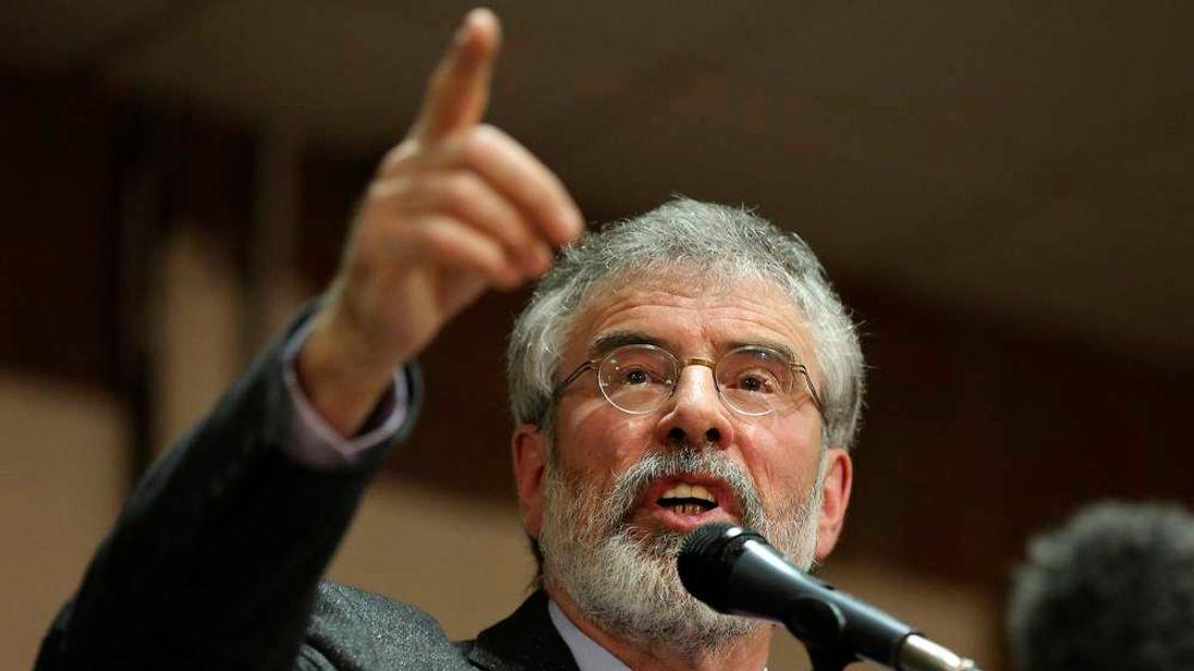 Sinn Fein president Gerry Adams speaks at an election rally in Belfast