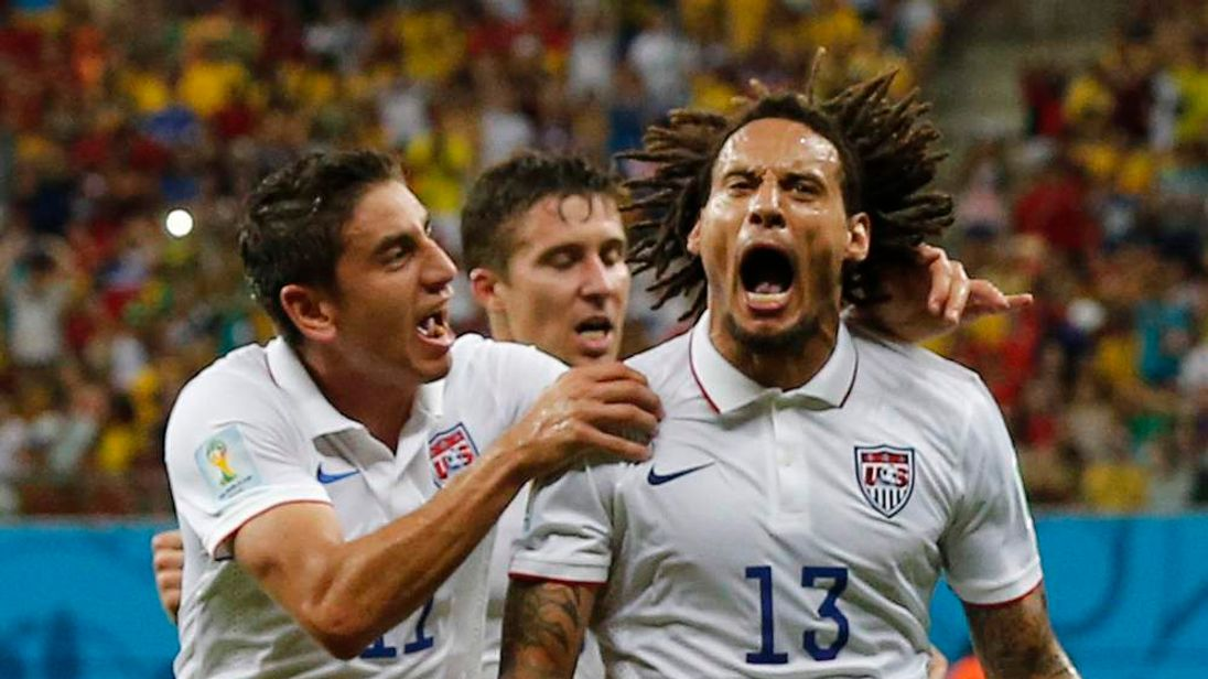 Jermaine Jones of the U.S. celebrates after scoring a goal during World Cup G soccer match between Portugal and the U.S. at the Amazonia arena