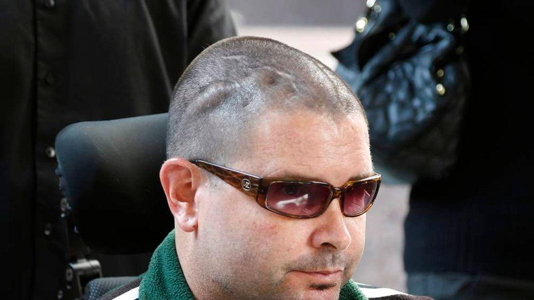 San Francisco Giants fan Bryan Stow leaves a Los Angeles Court