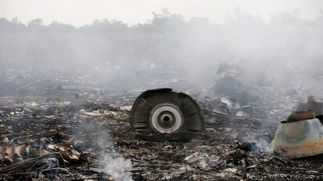 Site of a Malaysia Airlines Boeing 777 plane crash is seen near the settlement of Grabovo in the Donetsk region