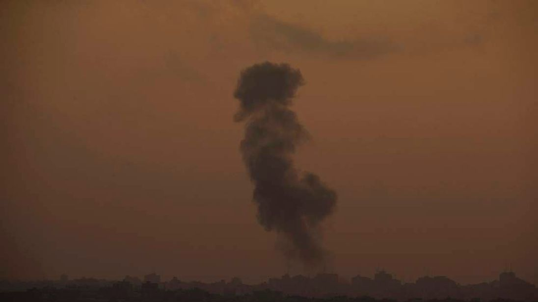 Smoke rises in the northern Gaza Strip as seen from Sderot