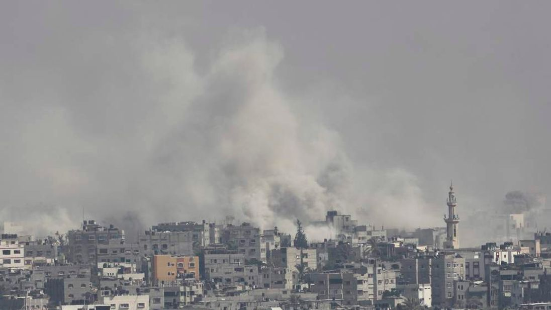 Smoke rises during what witnesses said was heavy Israeli shelling over the east of Gaza City