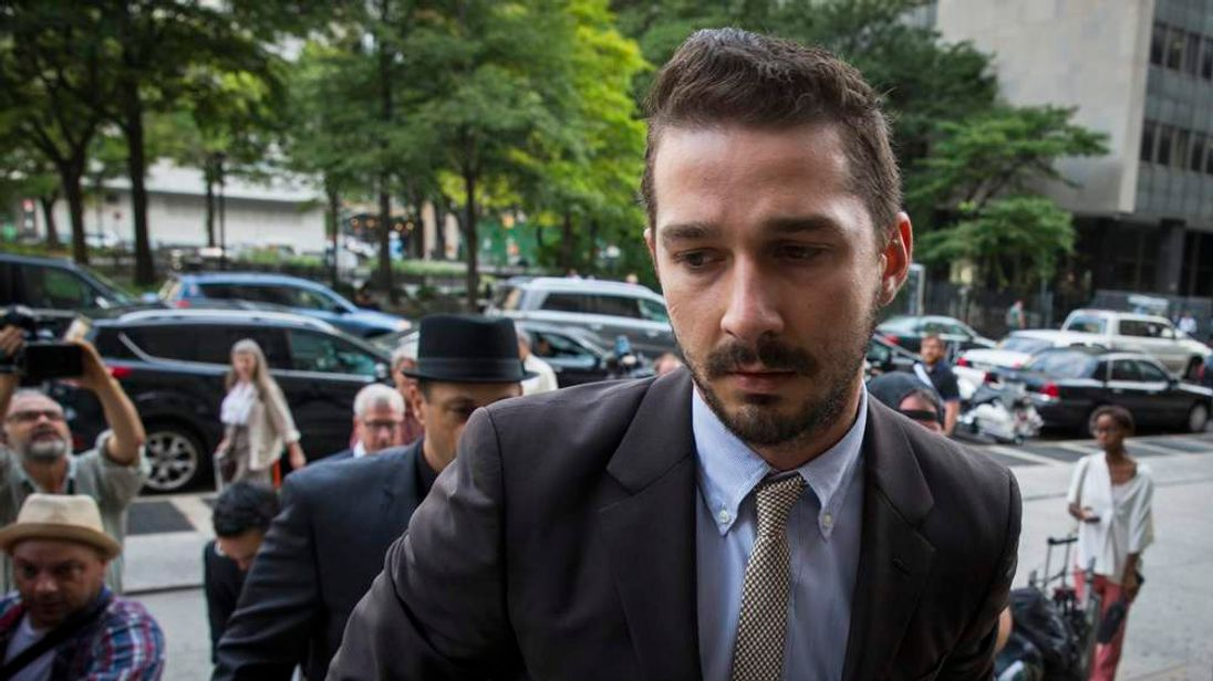 Actor Shia LaBeouf arrives for a court appearance at Manhattan Criminal Court in New York