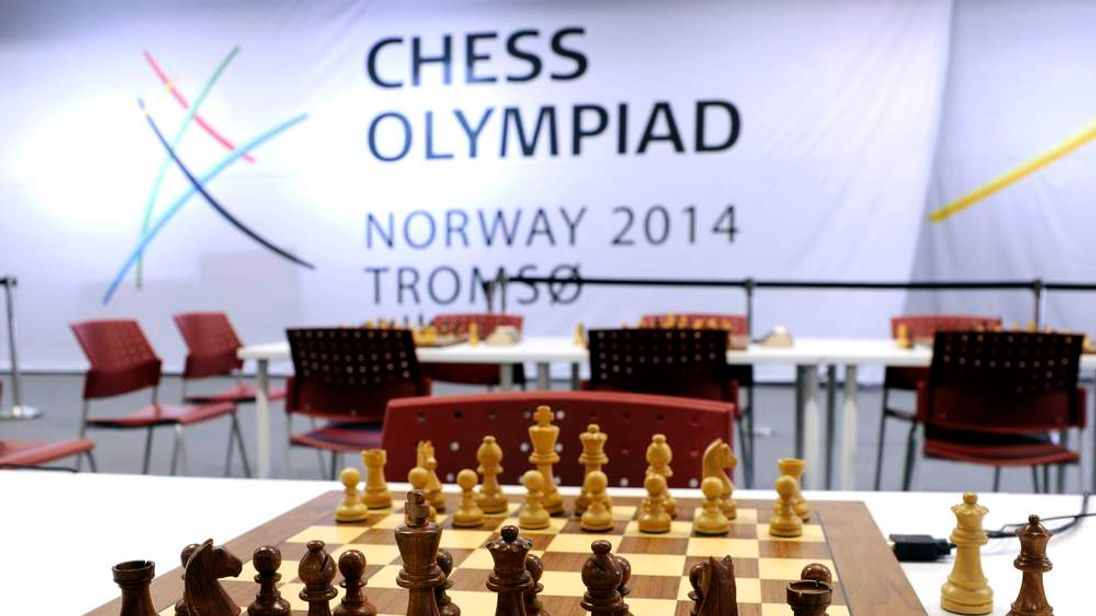 A chess set is pictured on a table on the first day of the 41st Chess Olympiad in Tromsoe