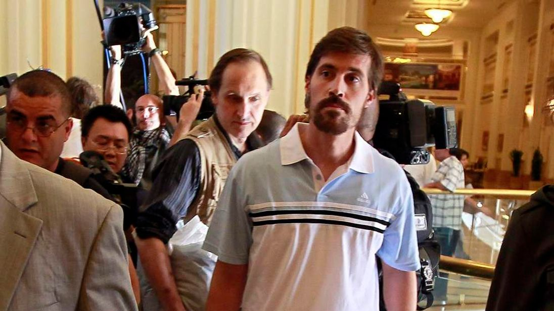 U.S. journalist James Foley arrives, after being released by the Libyan government, at Rixos hotel in Tripoli