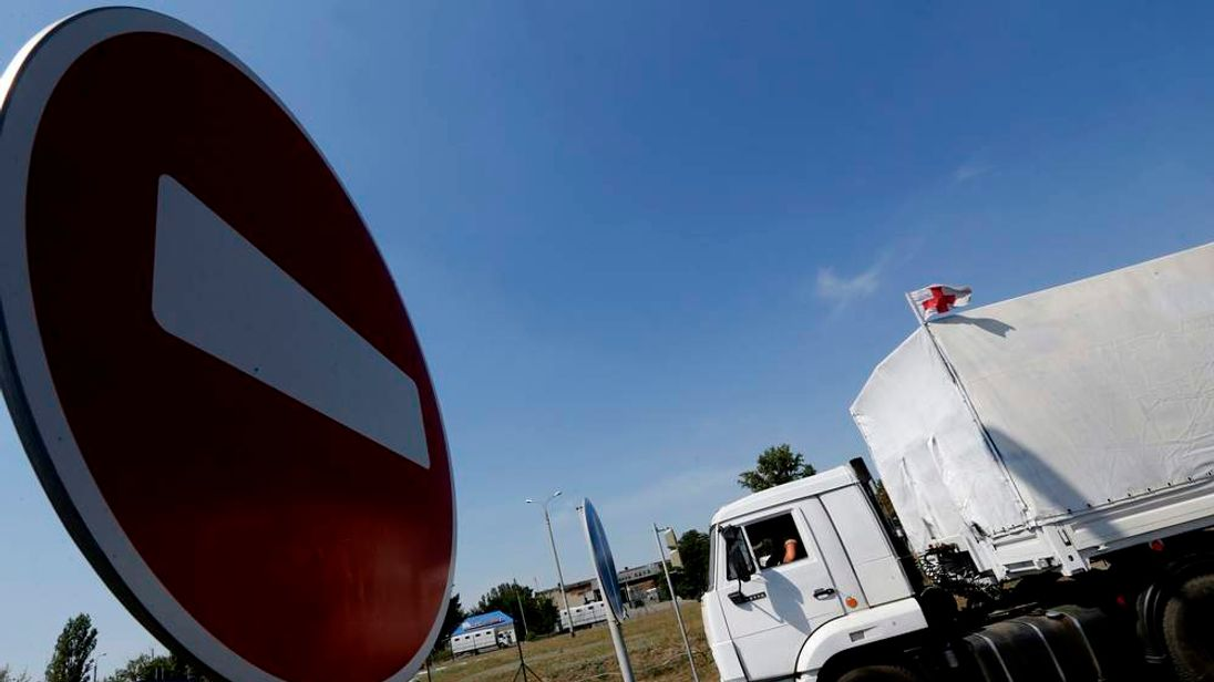 "A truck of a Russian convoy carrying humanitarian aid for Ukraine drives onto the territory of Russia-Ukraine border crossing point ""Donetsk"" in Russia's Rostov Region"