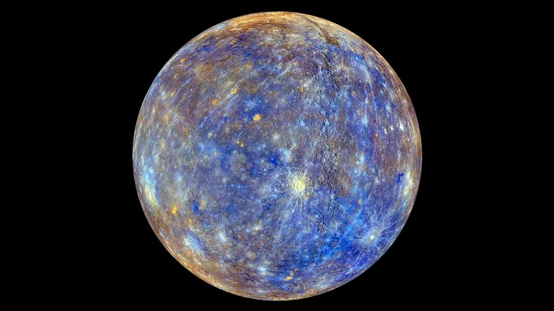 An image of the planet Mercury produced by using images from MESSENGER probe