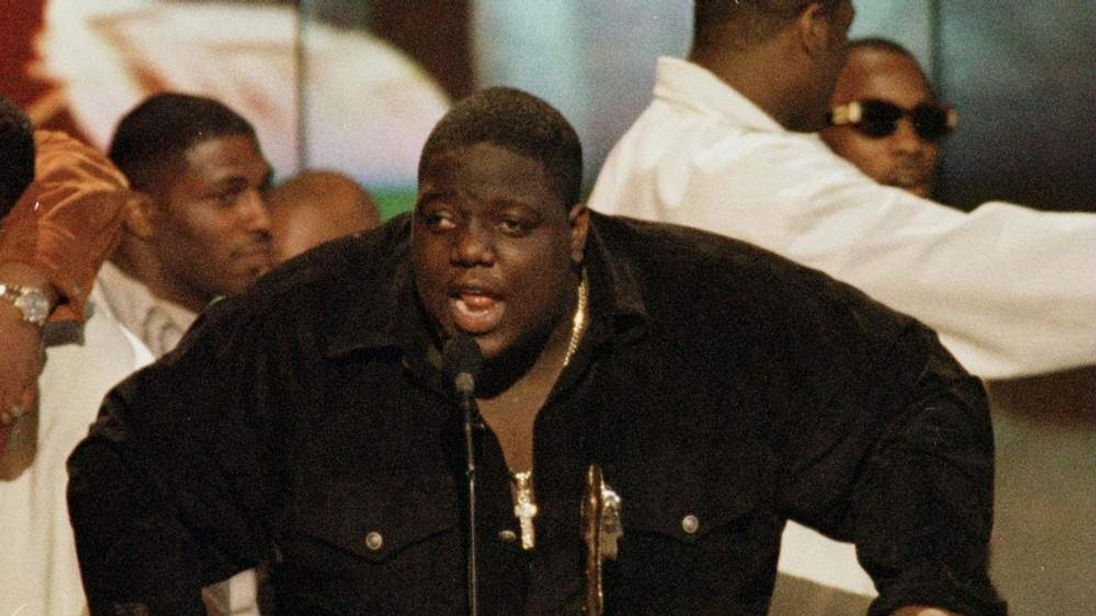 File picture shows US rap singer Notorious B.I.G. on stage in Los Angeles.