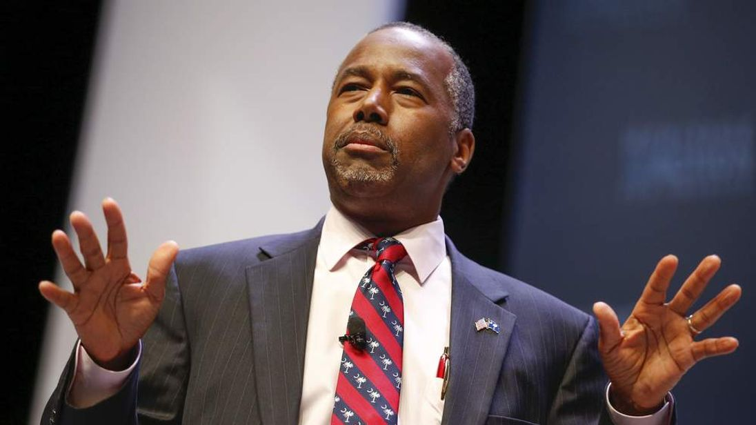 Republican candidate Dr Ben Carson speaks in South Carolina