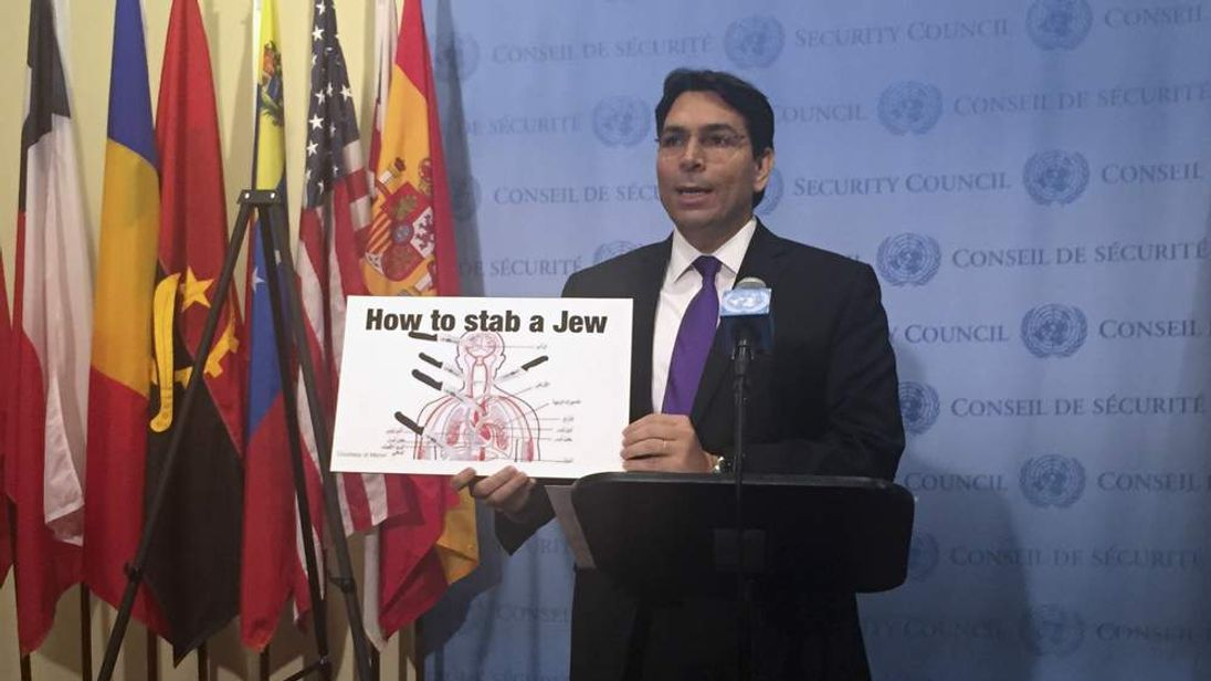 Israel's Ambassador to the United Nations Danny Danon holds up a visual aid as he speaks to the media after an emergency meeting at United Nations Headquarters in New York