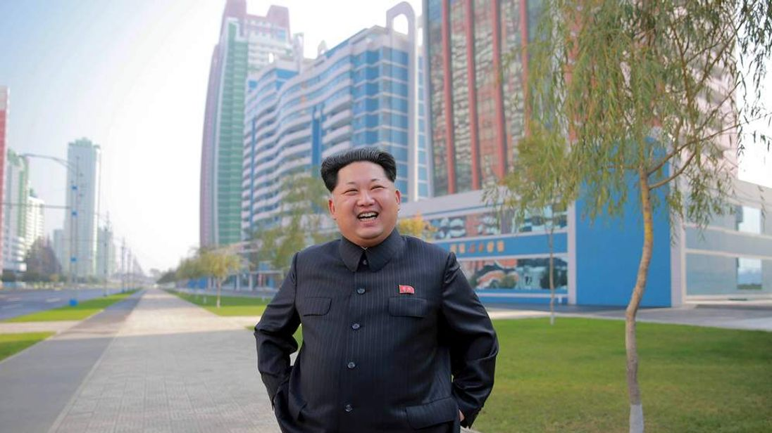 KCNA picture of North Korean leader Kim Jong Un inspecting the completed Mirae Scientists Street