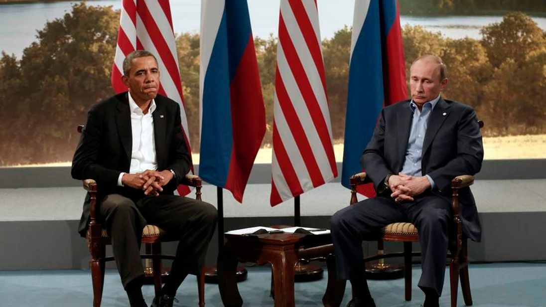 Barack Obama meets with Vladimir Putin during the G8 Summit at Lough Erne in Enniskillen