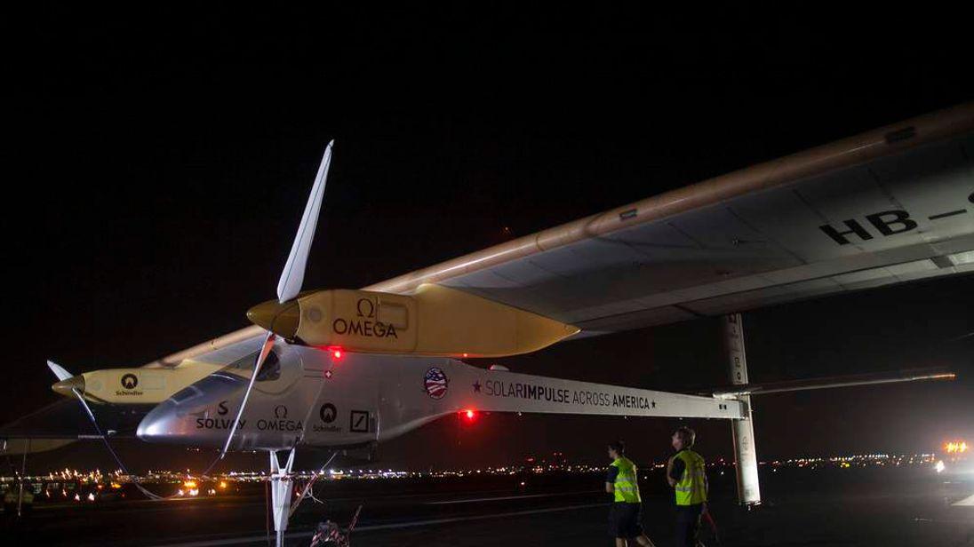 Solar Impulse is seen at JFK airport in New York