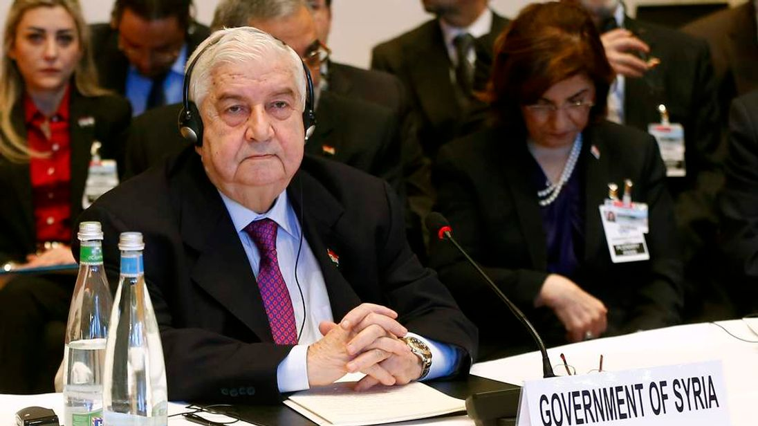 Syria's Foreign Minister Walid al-Moualem awaits the peace talks in Montreux