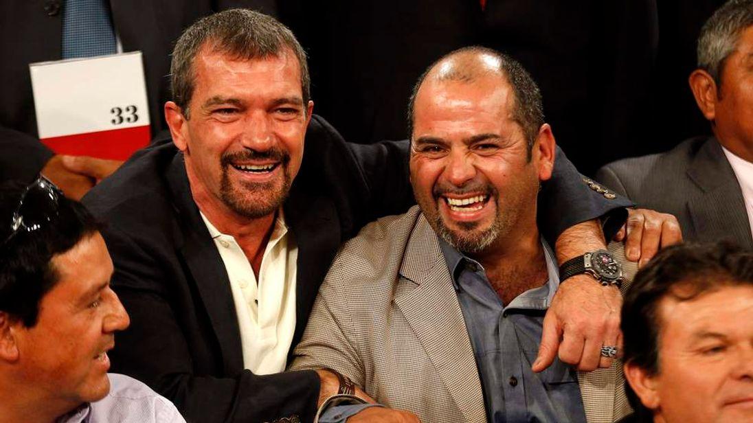 Actor Antonio Banderas poses with former miner Mario Sepulveda