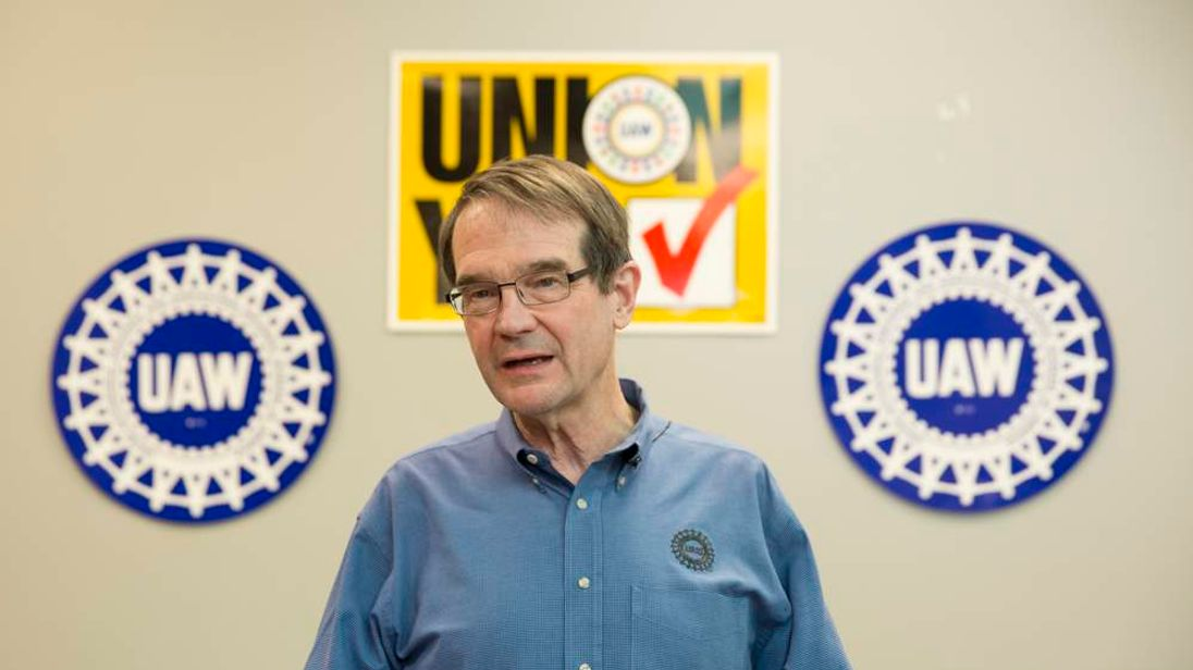 UAW President King answers questions during a news conference at the Volkswagen plant in Chattanooga