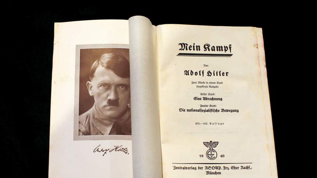 """A copy of Adolf Hitler's book """"Mein Kampf"""" is pictured in Berlin"""