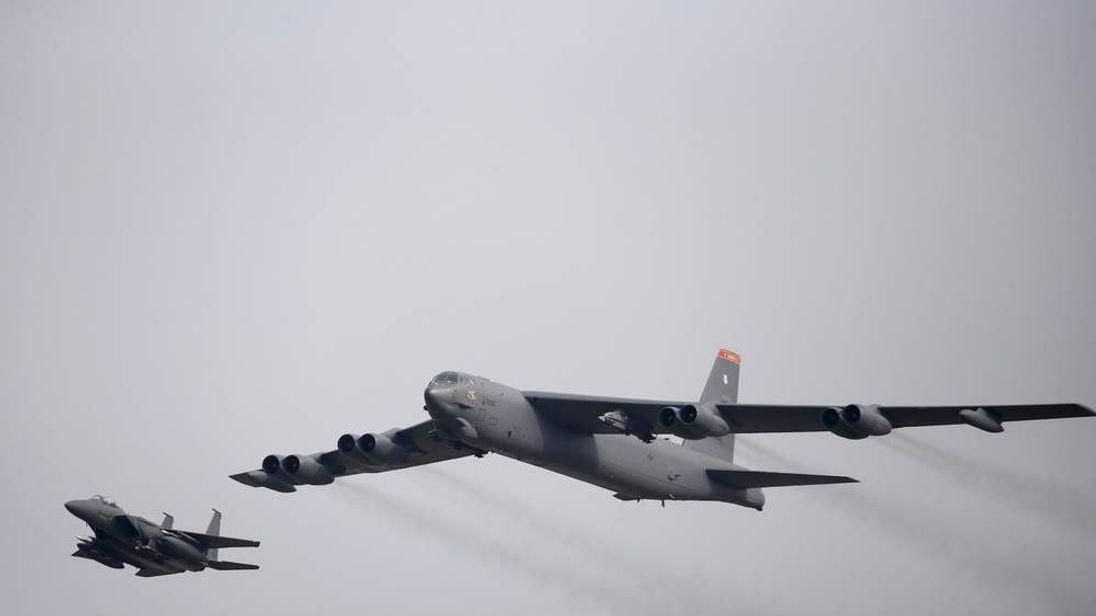 A U.S. Air Force B-52 flies over Osan Air Base in Pyeongtaek