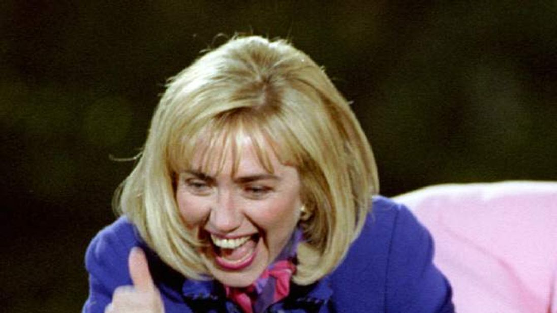 Hillary Clinton,wife of newly elected President Bill Clinton gives thumbs-up sign during a victory c..