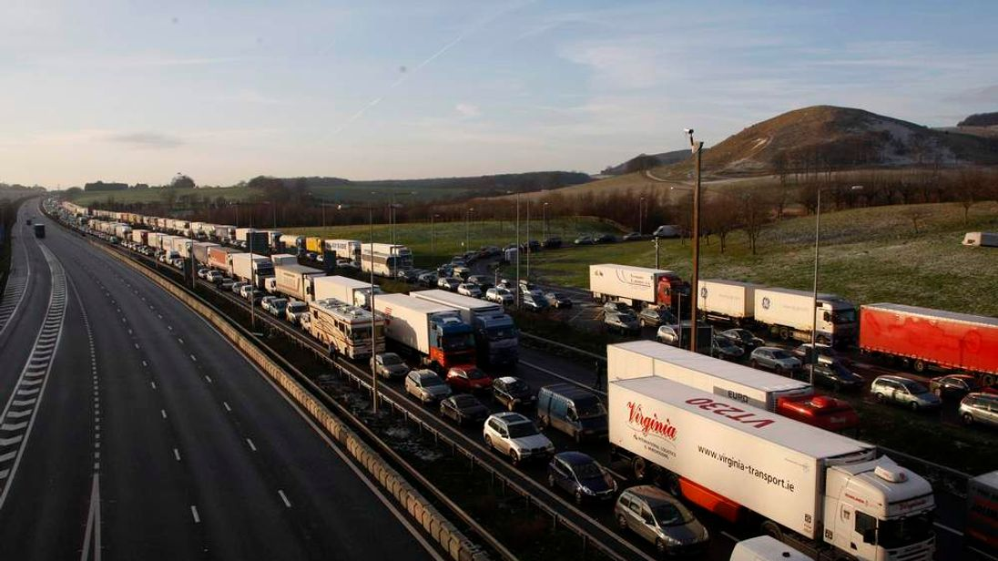 Traffic queues on the M20 motorway