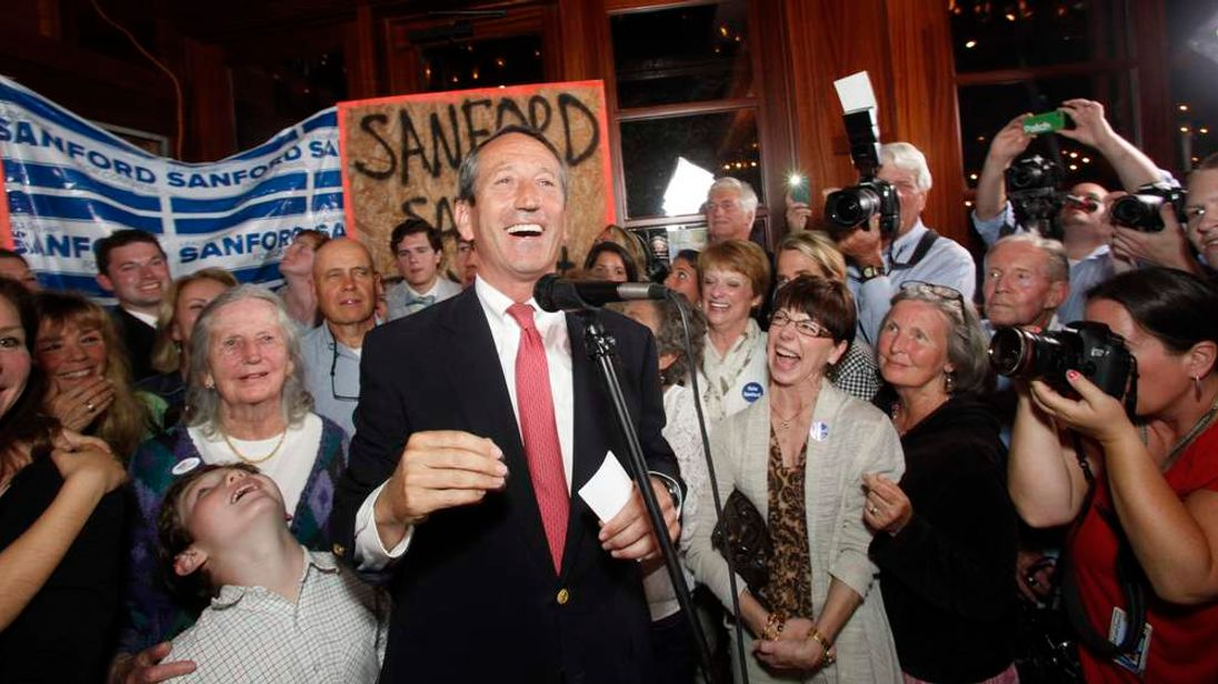 Former South Carolina Governor Sanford celebrates his victory with large crowd in South Carolina first district congressional race in Mount Pleasant