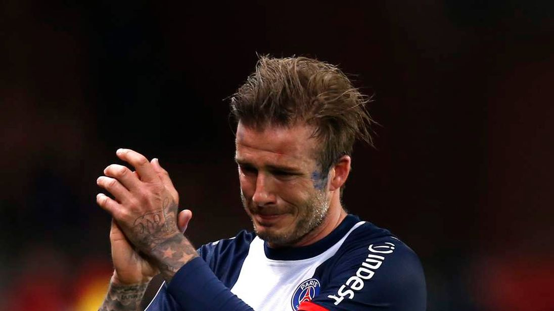Paris Saint-Germain's Beckham reacts at the end of his team's French Ligue 1 soccer match against Brest at the Parc des Princes stadium in Paris