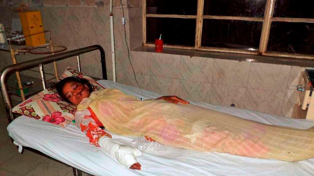 Saba Maqsood in her hospital bed