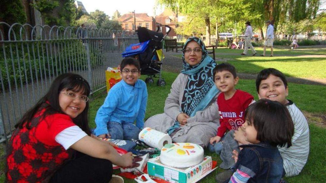 Sabah Usmani with, from left, Hira, Sohaib, Rayyan, Muneeb and Maheen