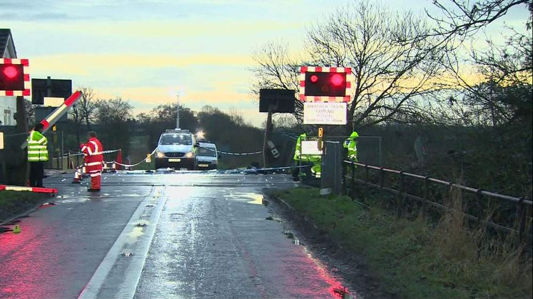 Damage at the scene of the level crossing at Beech Hill