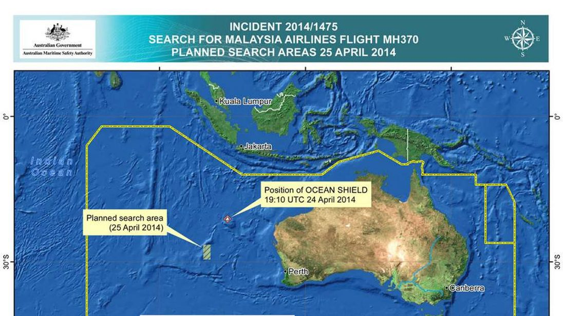 Map showing planned search area