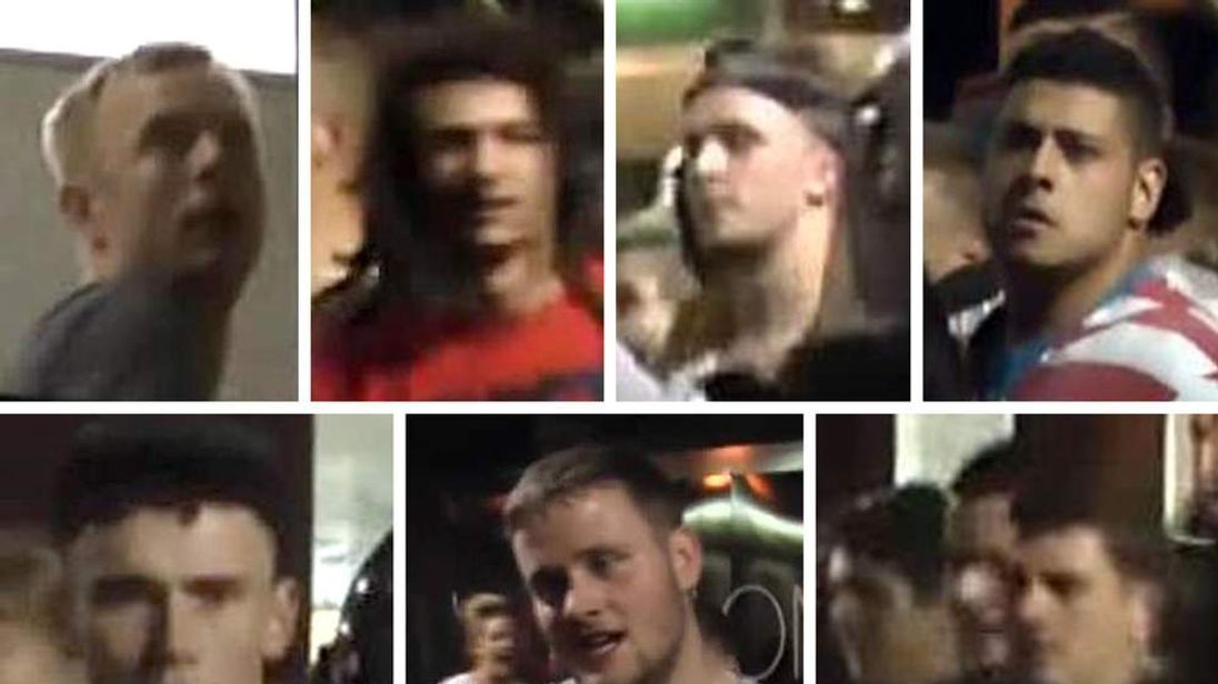 Seven men police  want to speak with in connection with a rave at a disused sorting office in Cherry Orchard Road, Croydon