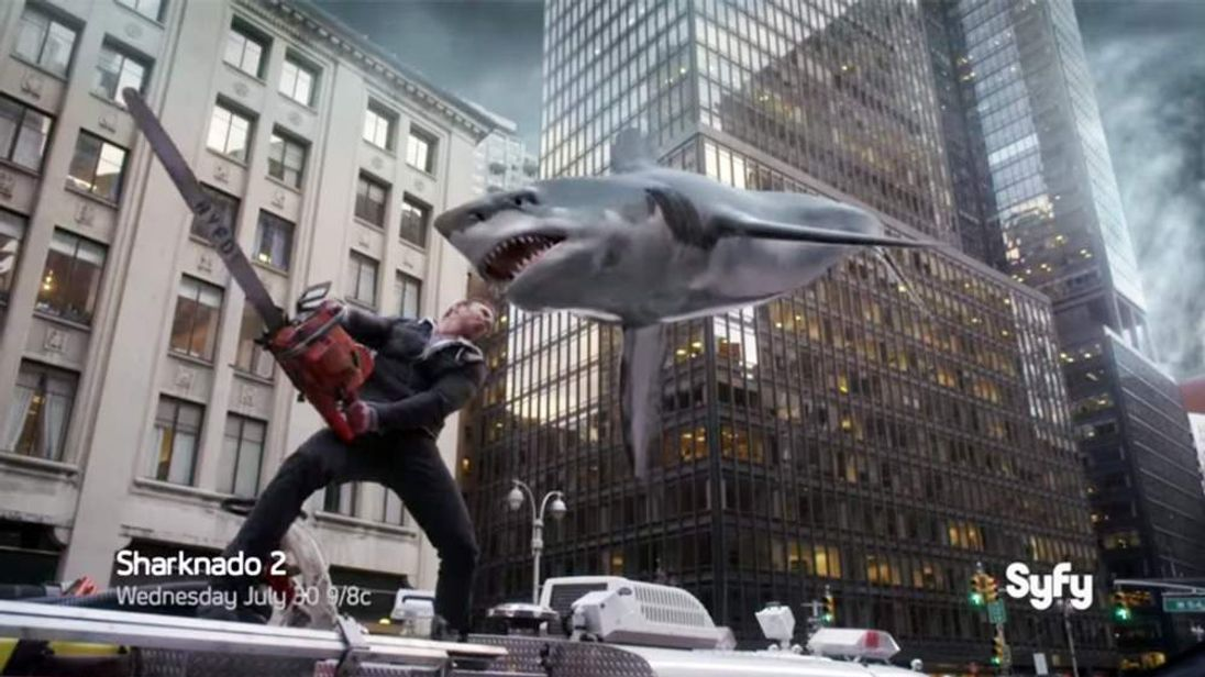 A screengrab from the trailer for Sharknado 2: The Second One