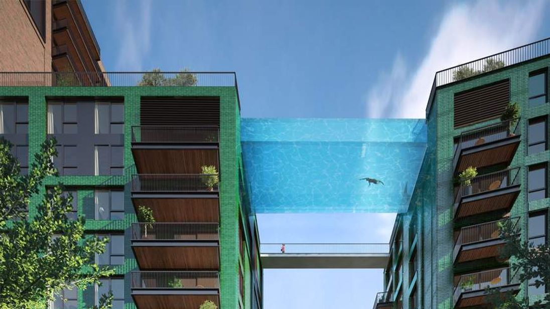 Proposed swimming pool linking two blocks of flats at Embassy Gardens, London 2