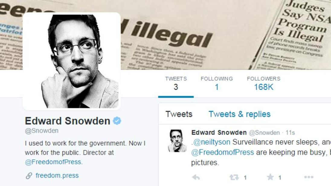 Edward Snowden has launched a Twitter account
