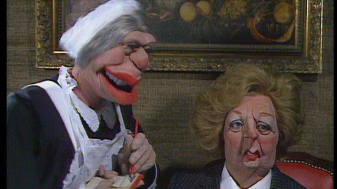 A scene from Spitting Image with Margaret Thatcher