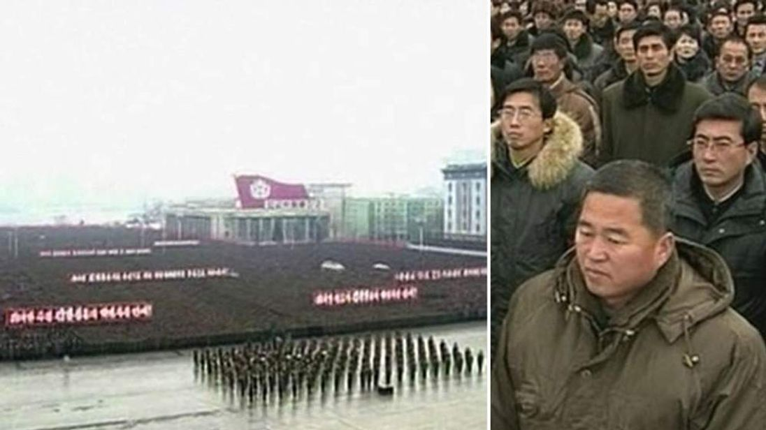 A rally is held in the aftermath of North Korea's rocket launch.