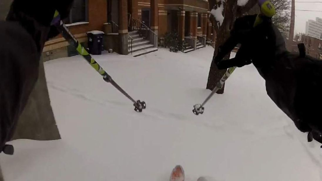 Skiing in the streets of Boston, USA