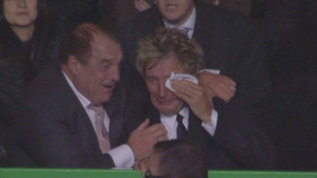 Rod Stewart in tears after Celtic's victory over Barcelona