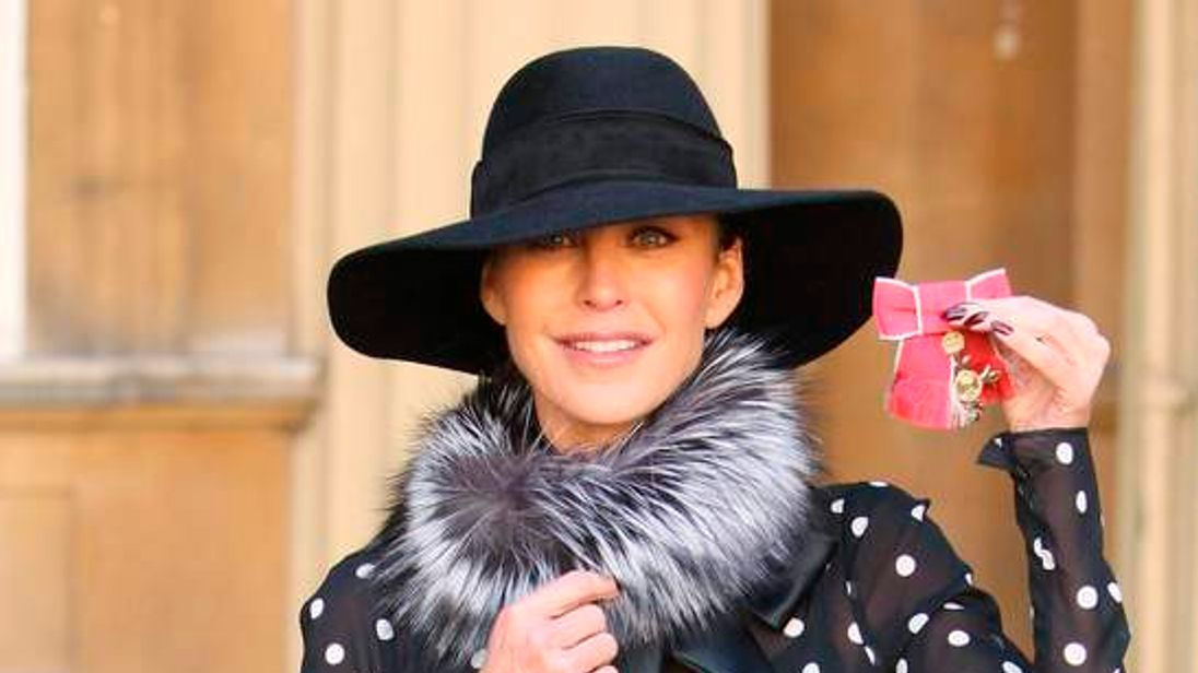 Jimmy Choo shoes founder Mellon shows off her OBE in London
