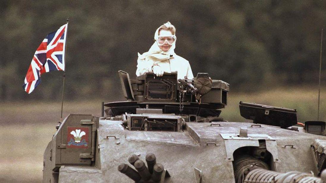 Margaret Thatcher in a tank