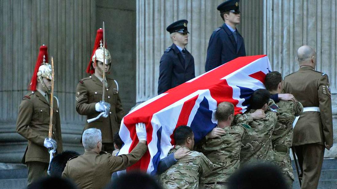 The Bearer Party formed from members of Britain's armed forces, rehearses for the funeral of former British prime minister Margaret Thatcher, at St. Paul's Cathedral in the City of London