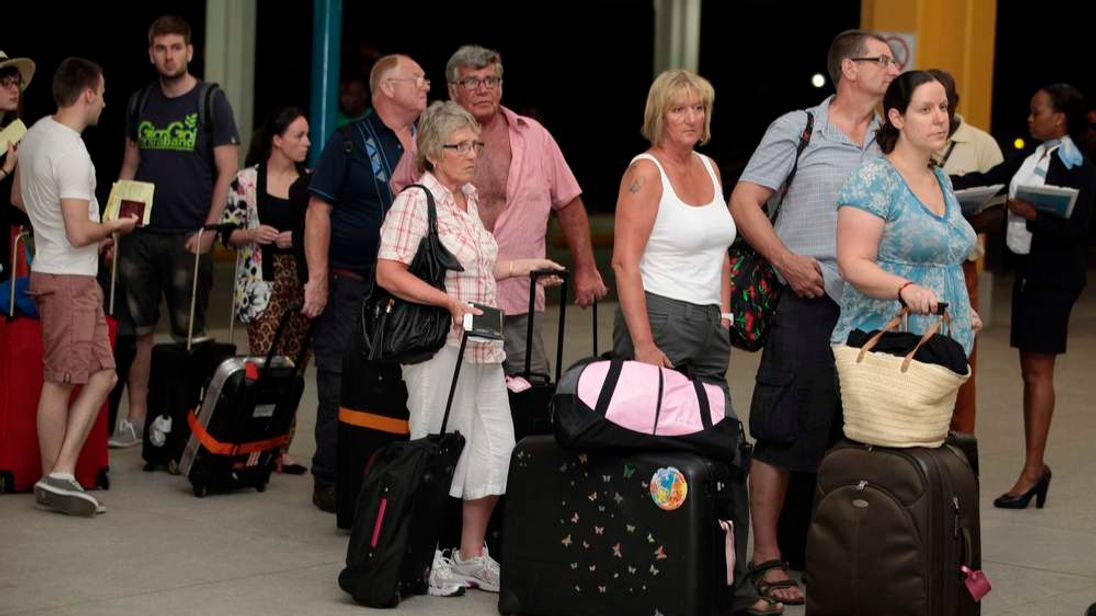 British tourists leaving Kenya