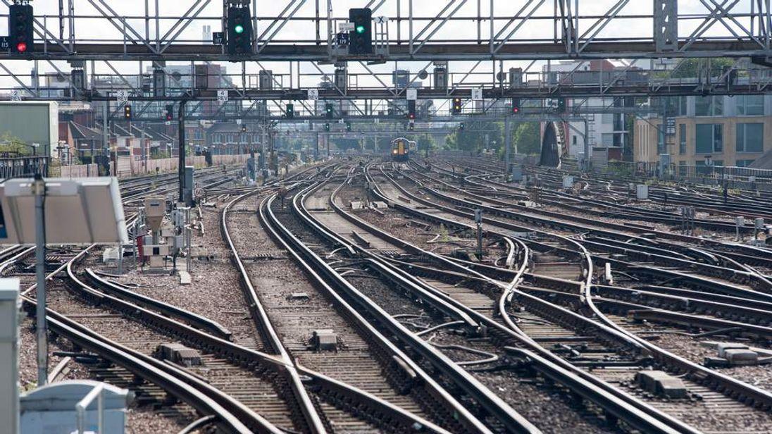Train tracks at London Bridge train station, London.