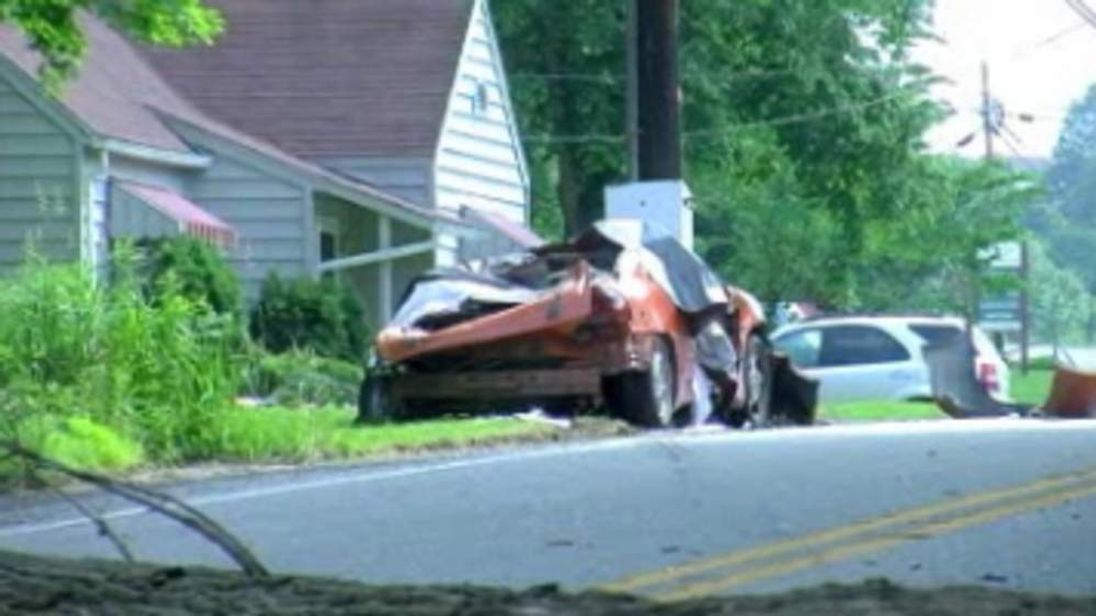 Two children killed with tree fell on a car they were riding in. Pic: WTAJ-TV