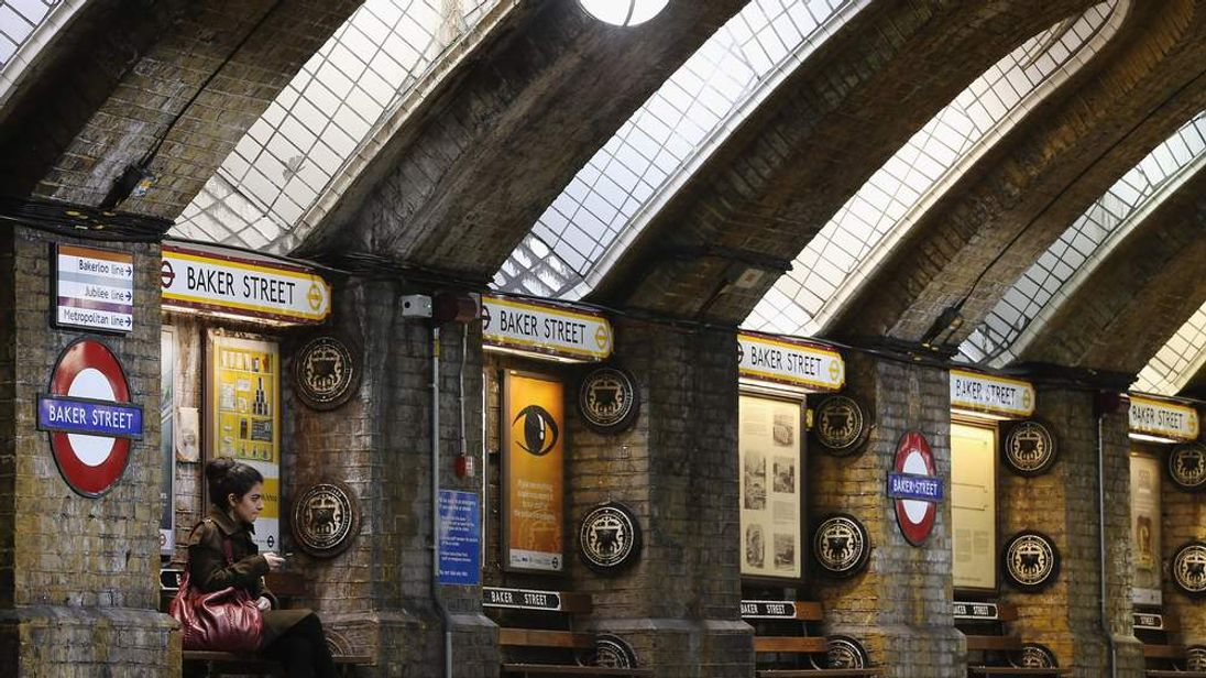 London Baker Street Tube Station With Adverts