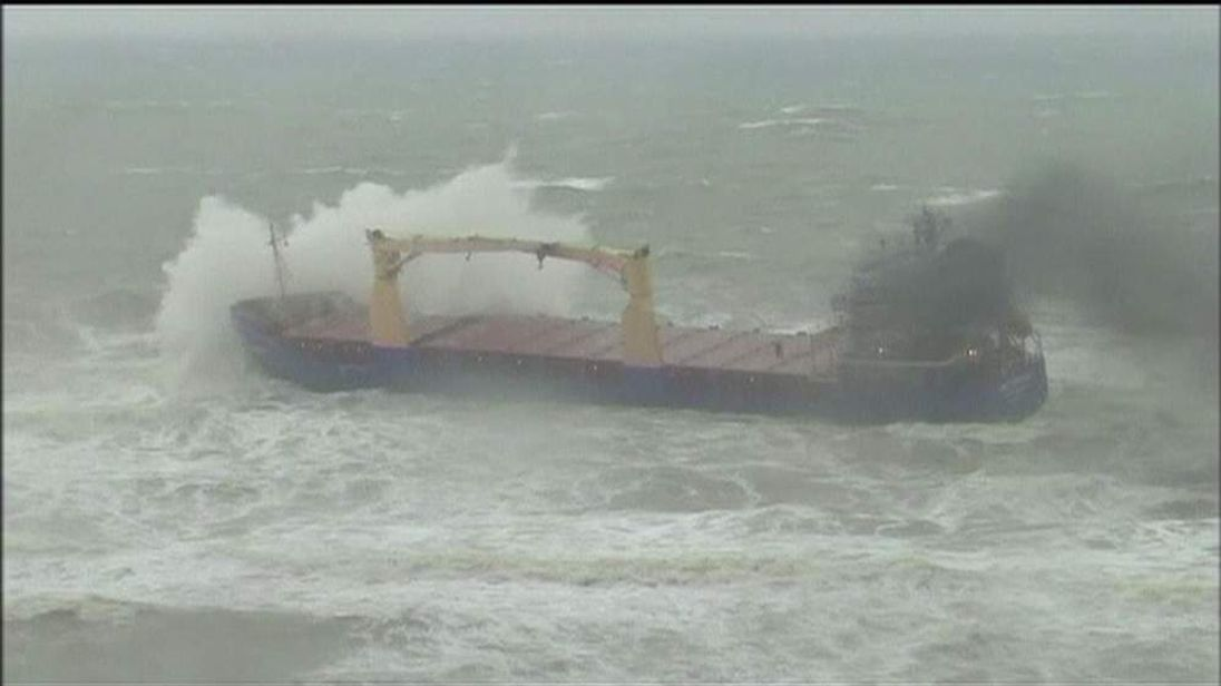 TURKEY Cargo Ship Runs Aground After Storms