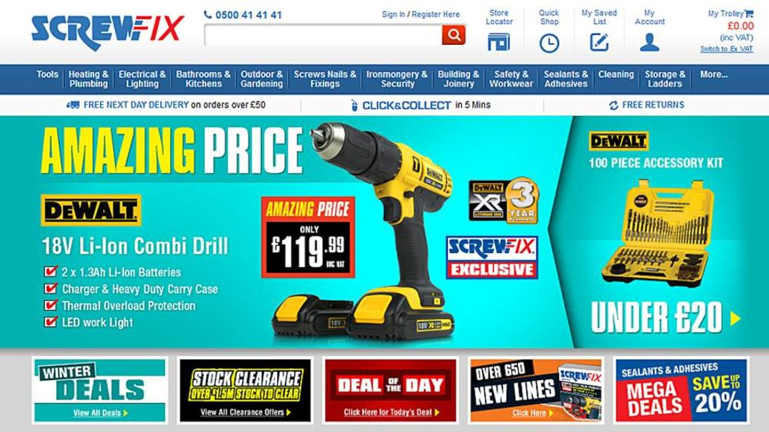 The screwfix.com website