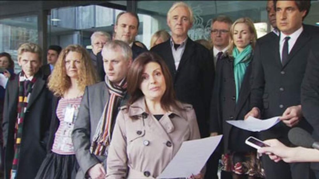 Press intrusion victims including Jacqui Hames (front) and Kate McCann (R) respond to the Leveson report.