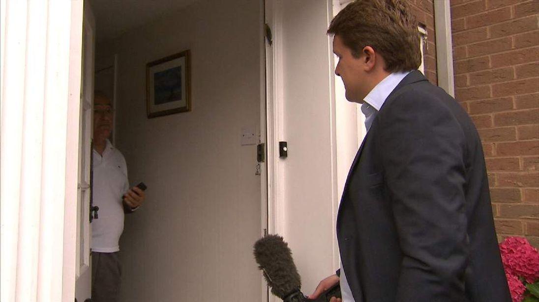 Sky's Nick Martin doorsteps Philip Cattan