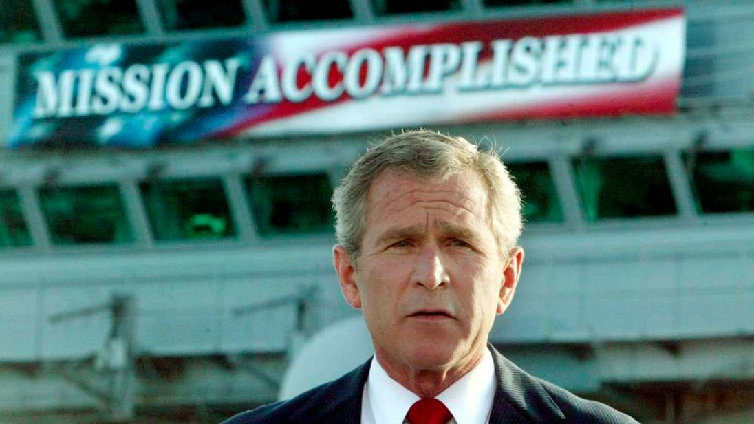FILE PHOTO OF US PRESIDENT BUSH DELIVERS SPEECH ABOARD THE AIRCRAFTCARRIER ABRAHAM LINCOLN.